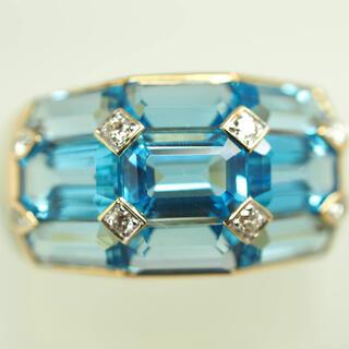 ☆1-38ki○m K18YG天然ブルートパーズ&ダイヤモンドリング 14.5号(リング(指輪))
