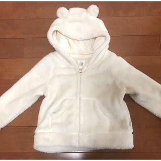 GAP - BabyGAP【ホワイト】モコモコふわふわ!耳付きボアパーカー アウター