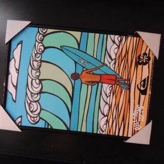 A4 額縁 ポスター サーフ ヘザーブラウン 海 Hawaii