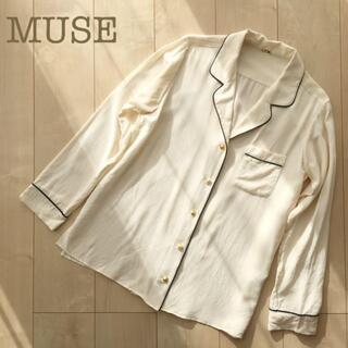 Energy Muse - MUSEミューズシルクVネックブラウス ベージュシフォンルームウェアシャツ