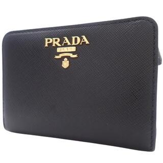 PRADA - プラダコンパクト財布 2つ折り サフィアーノ 黒 ピンク 40800064701
