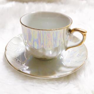 ロイヤルアルバート(ROYAL ALBERT)の最終値下げ♡アンティーク食器 シェル風オーロラパール カップ&ソーサー(グラス/カップ)