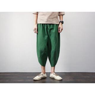 サルエルパンツ パンツ ズボン メンズ グリーン L 新品 送料無料 即日発送(サルエルパンツ)