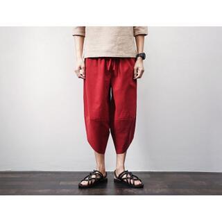 サルエルパンツ パンツ ズボン メンズ 赤 L 送料無料 即日発送(サルエルパンツ)