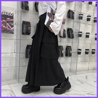 モード系 ユニセックス カーゴ サイドポケット ワイドパンツ ビッグサイズ (サルエルパンツ)