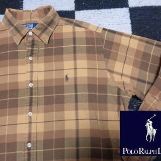 POLO RALPH LAUREN - 【Poloラルフローレン】長袖ブラウンチェックシャツ95 M程度ポロ