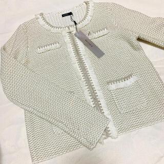モマ(MOMA)の【新品⭐️タグ付き】ノーカラージャケット 白 シルバー アウター 羽織り コート(ノーカラージャケット)