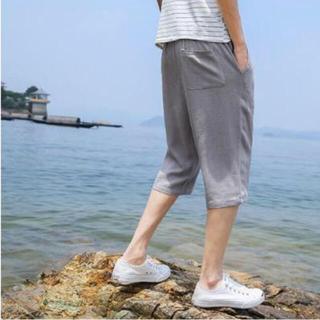 サルエルパンツグレーメンズ ハーフパンツ 麻 夏 七分丈 半ズボン(サルエルパンツ)