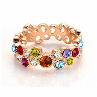 SWAROVSKI - 多彩水晶リング 透かし彫り 指輪 レディース スワロフスキークリスタル