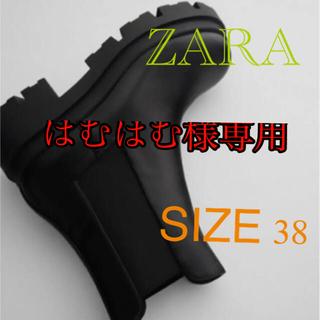 ZARA - 大人気◆ZARA トラックソール付きローヒールアンクルブーツ 38