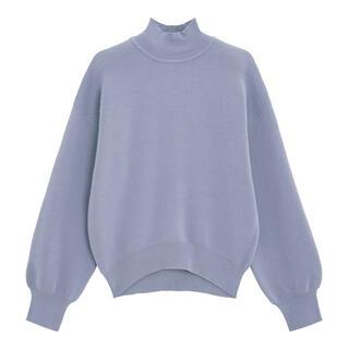 GU - GU スウェットライクハイネックセーター ブルー 青 水色