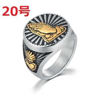 ハンド 祈り ヒップホップ ブリンブリン ストリート シルバー 指輪 20号(リング(指輪))