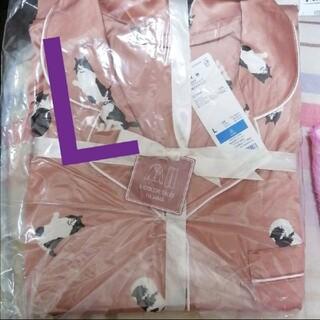 GU - GU 長袖パジャマ 新品 サテンパジャマ ねこ キャット 猫ピンク
