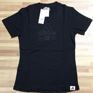 アディダス(adidas)の新品 アディダス 半袖 Tシャツ 黒 コットン製 レディース L 定価3289円(Tシャツ(半袖/袖なし))