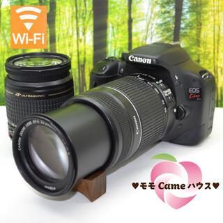 キヤノン(Canon)のキヤノン Kiss X4ダブルレンズセット☆スマホに写真転送OK♪1401(デジタル一眼)