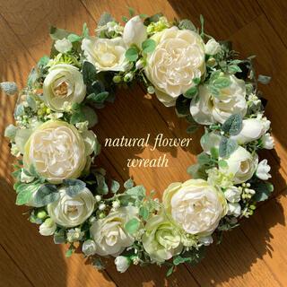 ホワイトローズのフラワーリース♡No.310