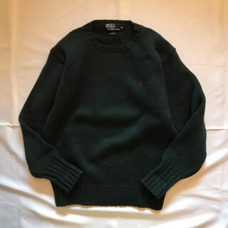 POLO RALPH LAUREN - 90s  ラルフローレン ウール ニット 厚手 丸首 グリーン 深緑 セーター