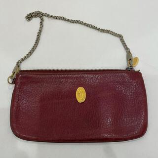 カルティエ(Cartier)の311 正規品 オールド カルティエ ミニポーチ チェーンバッグ 本物 赤(ポーチ)