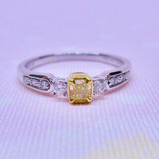 PonteVecchio - 天然 イエローダイヤモンド K18WG  ダイヤモンド リング 指輪