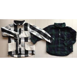 ムジルシリョウヒン(MUJI (無印良品))の新品 ブロックチェックシャツ & 無印 チェックシャツ 2枚組 100cm(ブラウス)