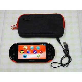 プレイステーションヴィータ(PlayStation Vita)の★PSVita PCH-2000 レッド/ブラック★(携帯用ゲーム機本体)
