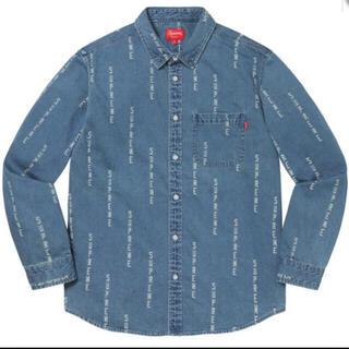 Supreme - Logo Stripe Jacquard Denim Shirt 青 S