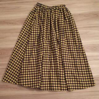 メルロー(merlot)のフィリル 黄色×紺チェック フレアスカート(ロングスカート)