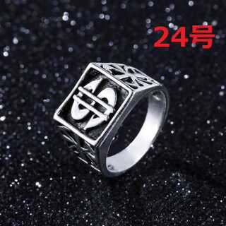 ストリート 系 $ ドル × 百合 モチーフ シルバー リング 指輪 24号(リング(指輪))