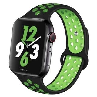 Apple Watch スポーツ バンド 42/44mm ブラック/グリーン(ラバーベルト)