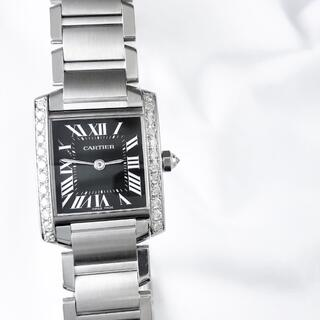カルティエ(Cartier)の【仕上済】カルティエ フランセーズ SM 黒文字盤 ダイヤ レディース 時計(腕時計)