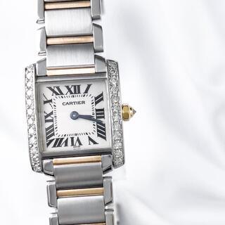 カルティエ(Cartier)の【仕上済】カルティエ フランセーズ SM コンビ ダイヤ レディース 腕時計(腕時計)