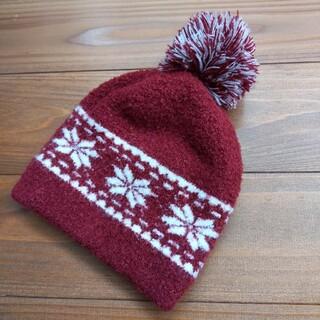 ムジルシリョウヒン(MUJI (無印良品))のニット帽 ニット帽子 キッズ 無印良品 赤 ノルディック柄 50~54(帽子)