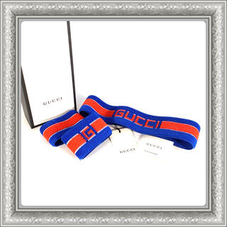 グッチ(Gucci)のGUCCI グッチ ヘアバンド リストバンド セット ロゴ ブルー M(バングル/リストバンド)