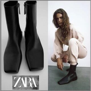 ZARA - 新品ZARAザラ本革スクエアトゥ仕様レザーフラットアンクルブーツ黒37