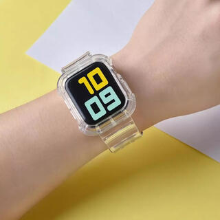 【新品未使用】Apple Watch クリアバンド 透明 韓国(ラバーベルト)