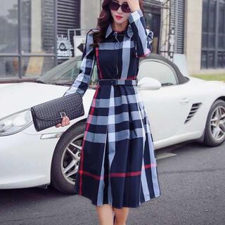 大人気‼️チェック柄 フレア ワンピース ドレス スカート レディース(ひざ丈ワンピース)