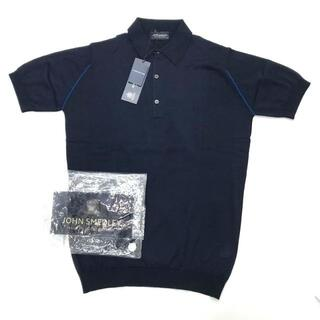 ジョンスメドレー(JOHN SMEDLEY)の新品 JOHN SMEDLEY KIBBLE ライン入 半袖 ポロシャツ ニット(ニット/セーター)