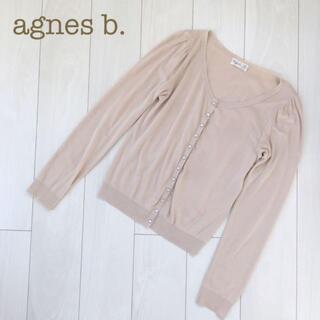 agnes b. - agnes b. クルーネック長袖ニットカーディガン ベージュ レディース