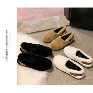 ラウンドトゥ フラット プラスベルベットの靴 ワイルド 女性(スリッポン/モカシン)