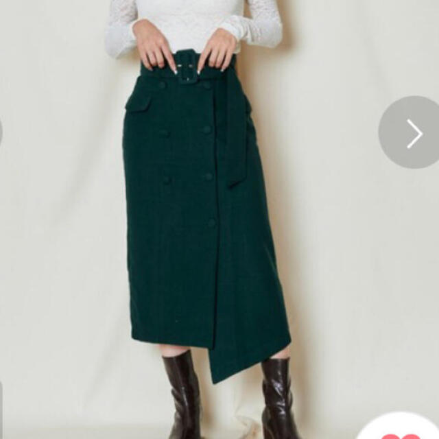 REDYAZEL(レディアゼル)の定価12100円 ダブルボタンアシメタイトスカート グリーン レディースのスカート(ロングスカート)の商品写真