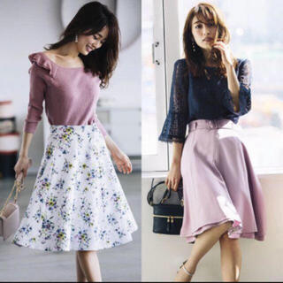 Apuweiser-riche - 花柄スカート  ベルトつきスカート  フレアスカート  ラベンダースカート