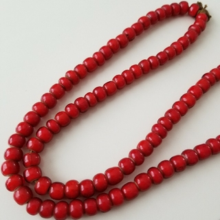 ホワイトハーツ ビーズ(赤) 1連 ゴローズ 等 革紐 メンズ ネックレス用(ネックレス)