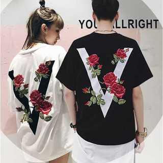 メンズ レディース Tシャツ オーバーサイズ バラ 黒 白 男女兼用 ペアルック(Tシャツ/カットソー(半袖/袖なし))