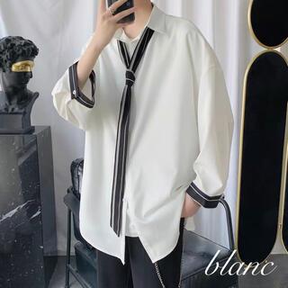 【着回しやすい♡】ネクタイ付 長袖 ストライプ シャツ ビッグサイズ(シャツ)