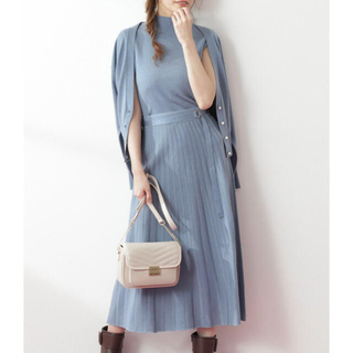 PROPORTION BODY DRESSING - Vネックカーデ×ノースリーブニット×プリーツスカート 3点セット