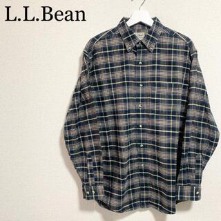 エルエルビーン(L.L.Bean)のLLビーン ネルシャツ メンズ チェックシャツ 紺 ベージュ(シャツ)