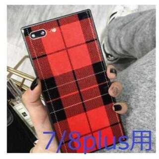【iPhone7/8p用:レッド】グレンチェックで光沢タイプ(iPhoneケース)