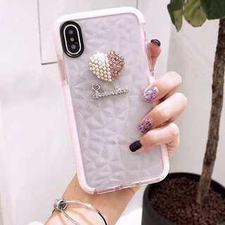 iPhoneケース ピンク iPhone7/8 ラインストーン パール ハート(iPhoneケース)