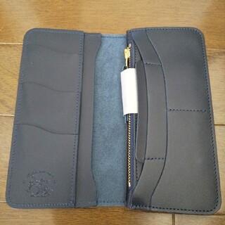 新品 本革 レザー 革蛸  財布 台形 ロング ウォレット ネイビー ブルー(長財布)