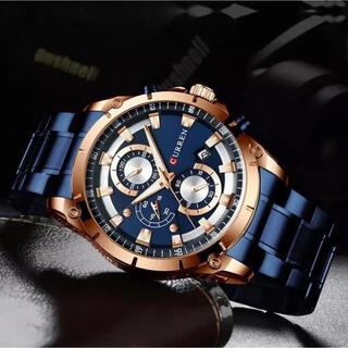 【海外限定】腕時計 メンズ ブルー【新品】(腕時計(アナログ))